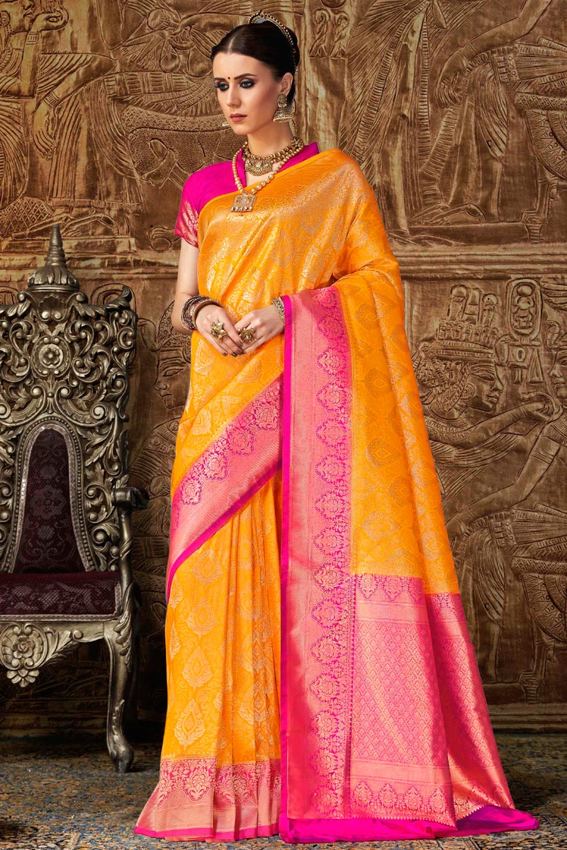 Designer Art Silk Weaving Work Party Style Fancy Saree In Orange