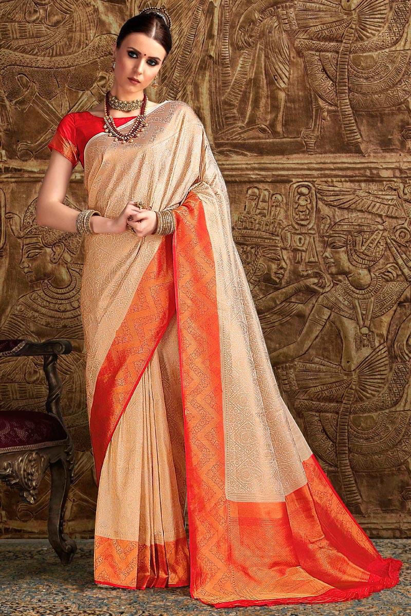Fancy Art Silk Party Wear Designer Beige Saree With Weaving Work