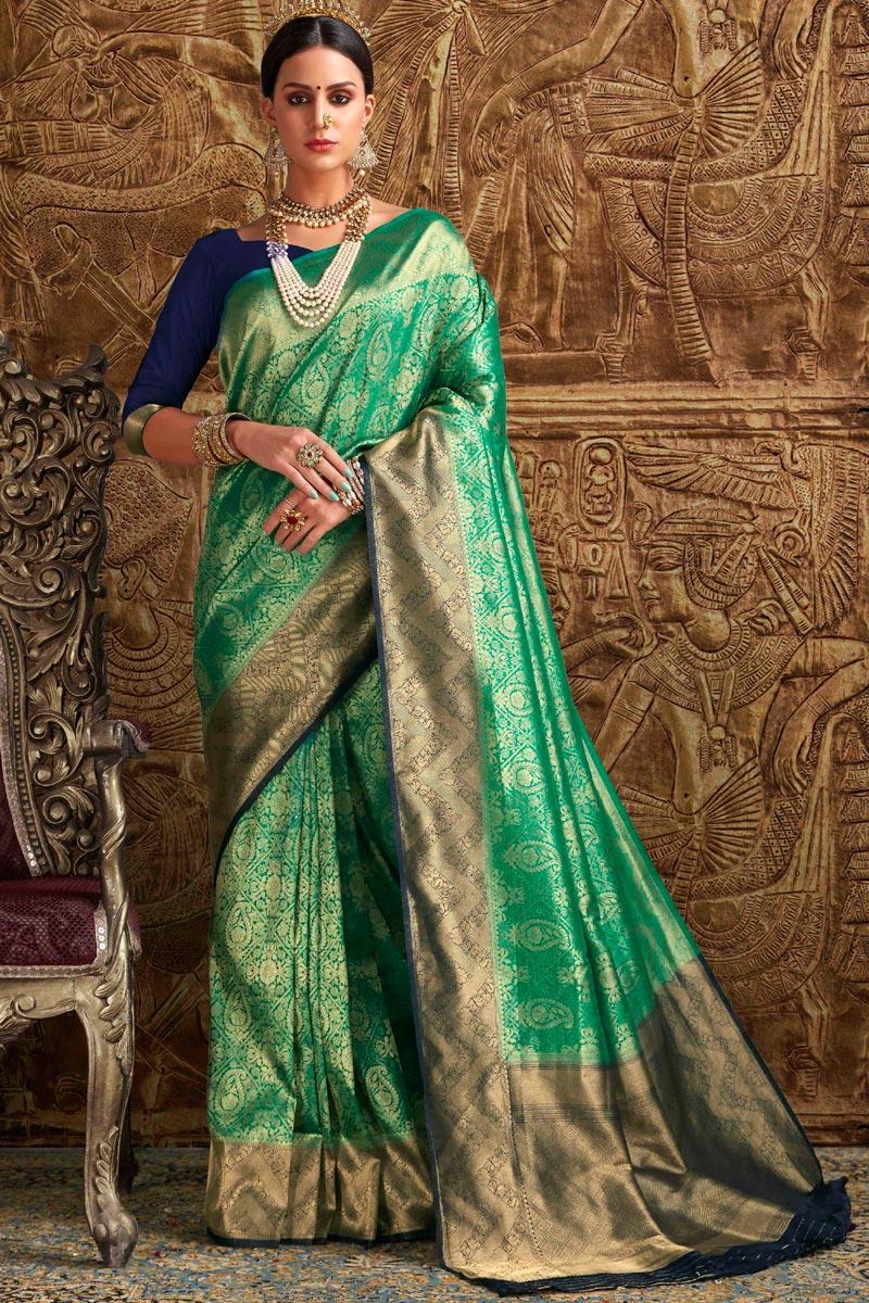 Designer Green Function Wear Fancy Weaving Work Saree In Art Silk