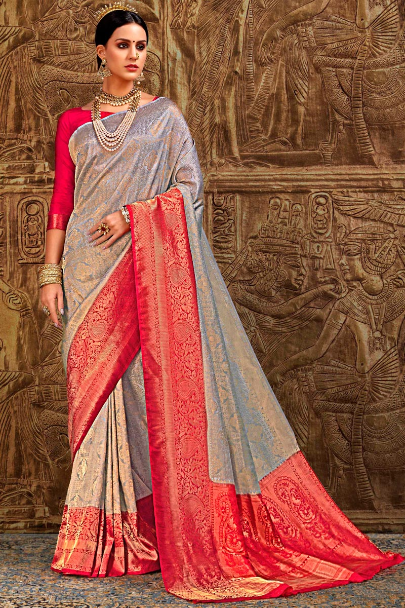 Grey Designer Party Style Art Silk Fancy Weaving Work Saree
