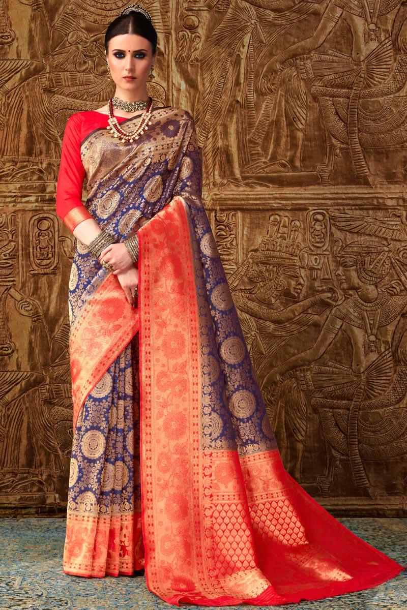 Function Wear Designer Art Silk Blue Fancy Saree With Weaving Work