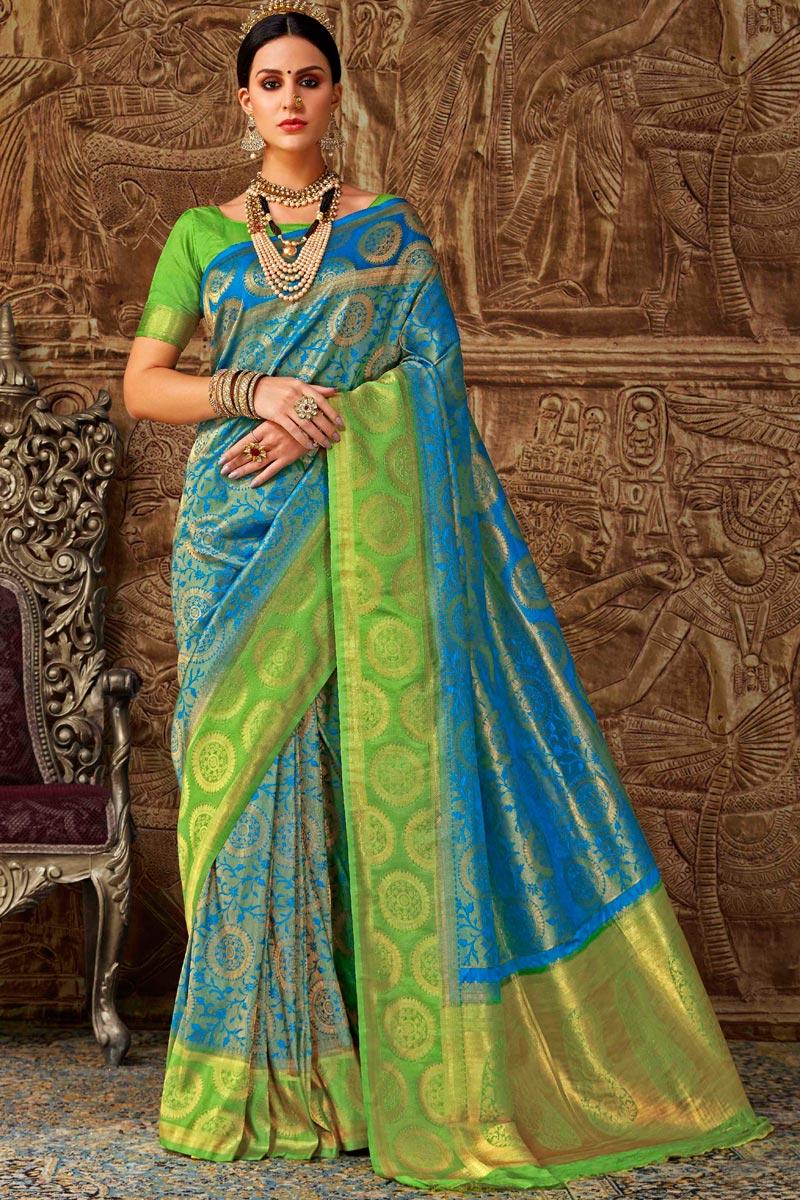 Designer Sky Blue Weaving Work Party Style Fancy Saree In Art Silk