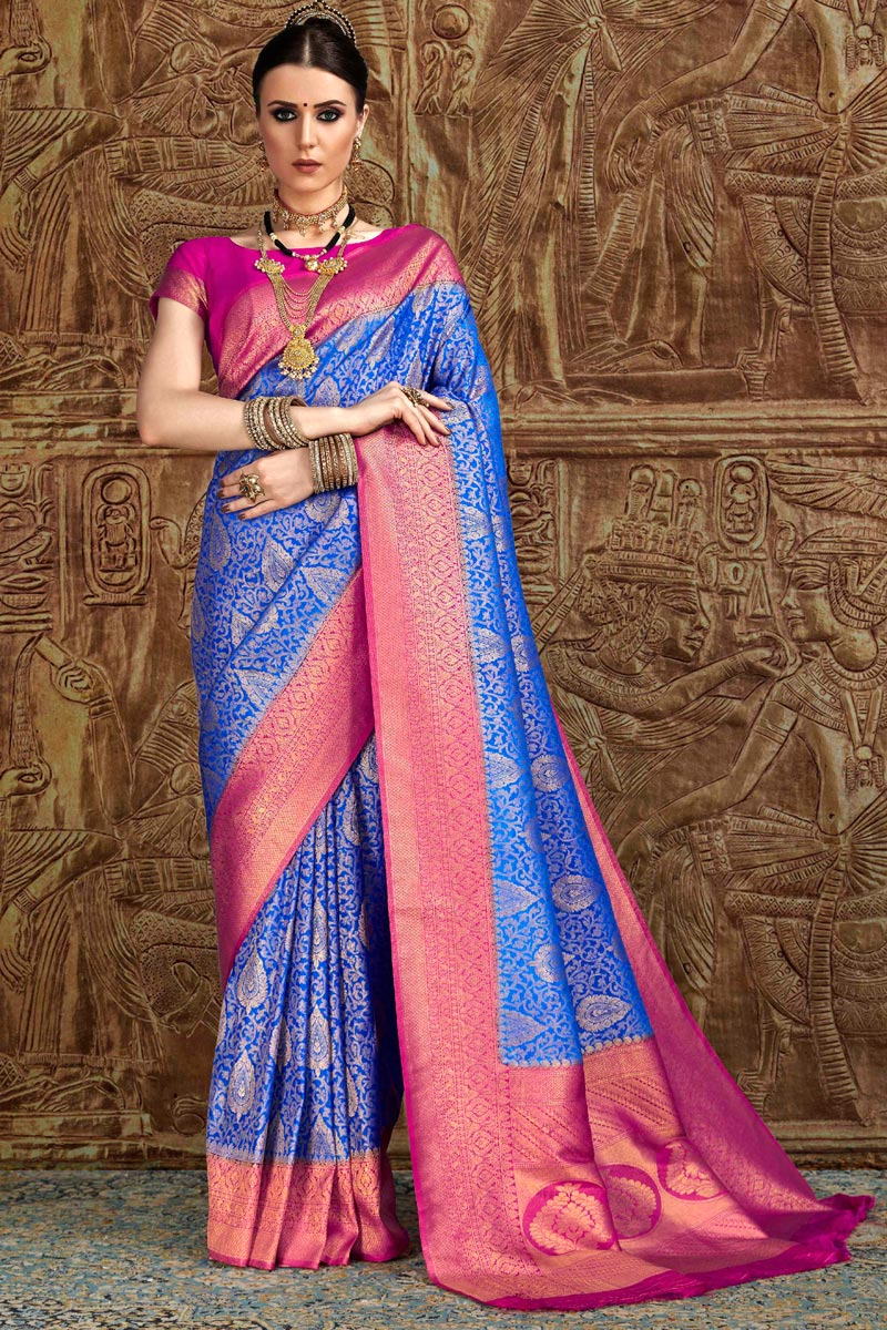 Fancy Blue Party Wear Designer Art Silk Saree With Weaving Work