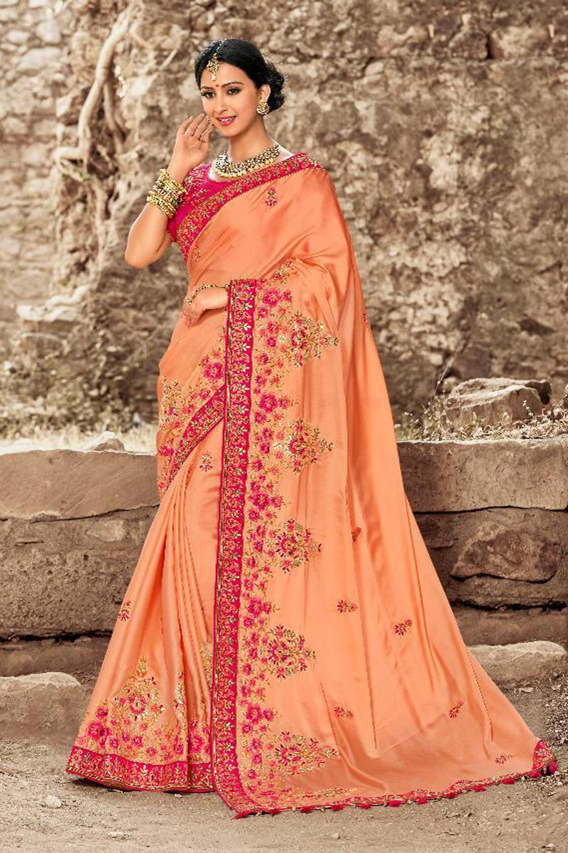 Art Silk Sangeet Wear Peach Embroidered Saree With Fancy Blouse