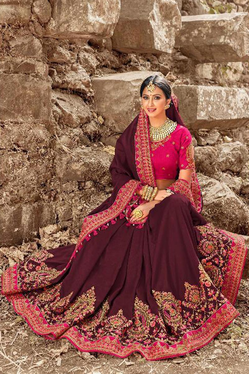 Function Wear Wine Art Silk Designer Saree With Embroidered Blouse