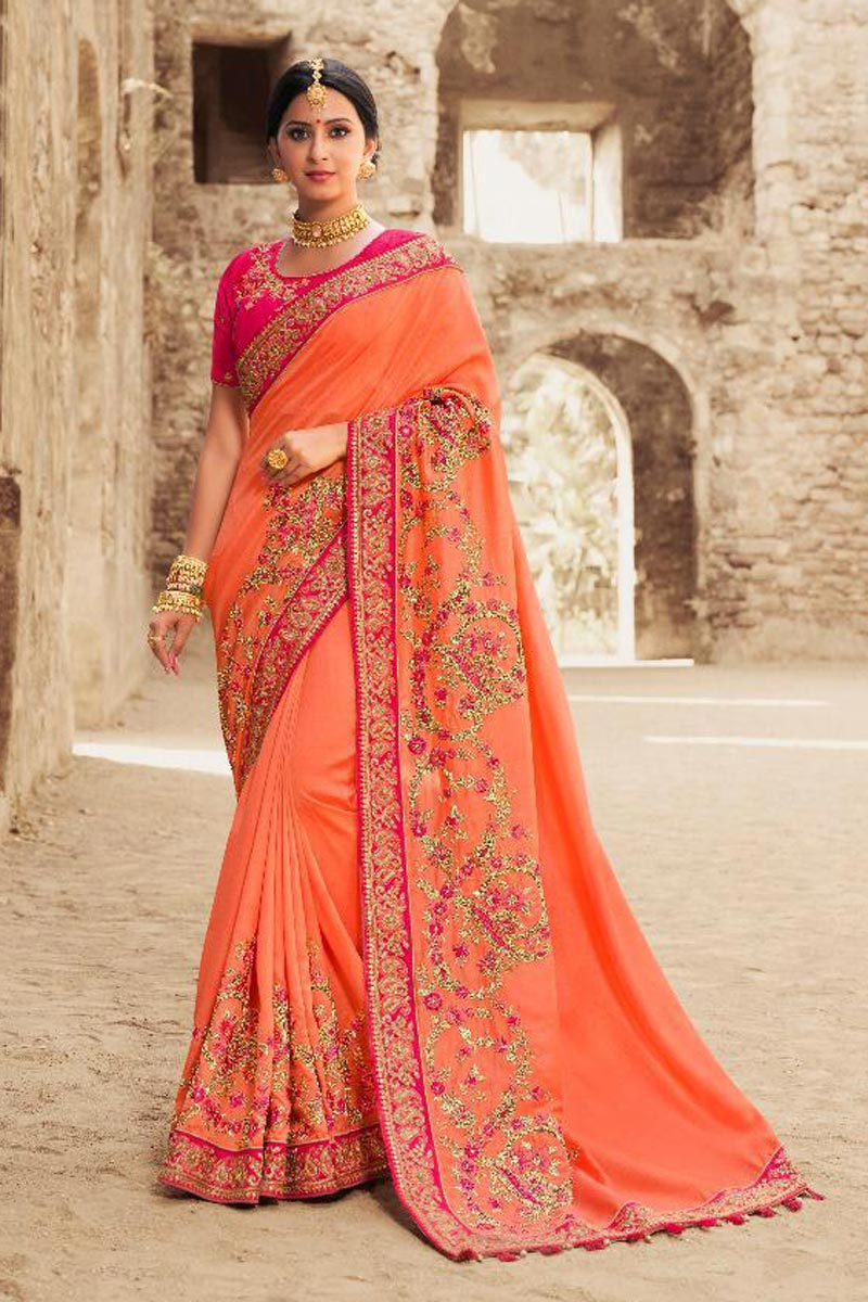 Orange Wedding Wear Art Silk Saree With Fancy Embroidered Blouse