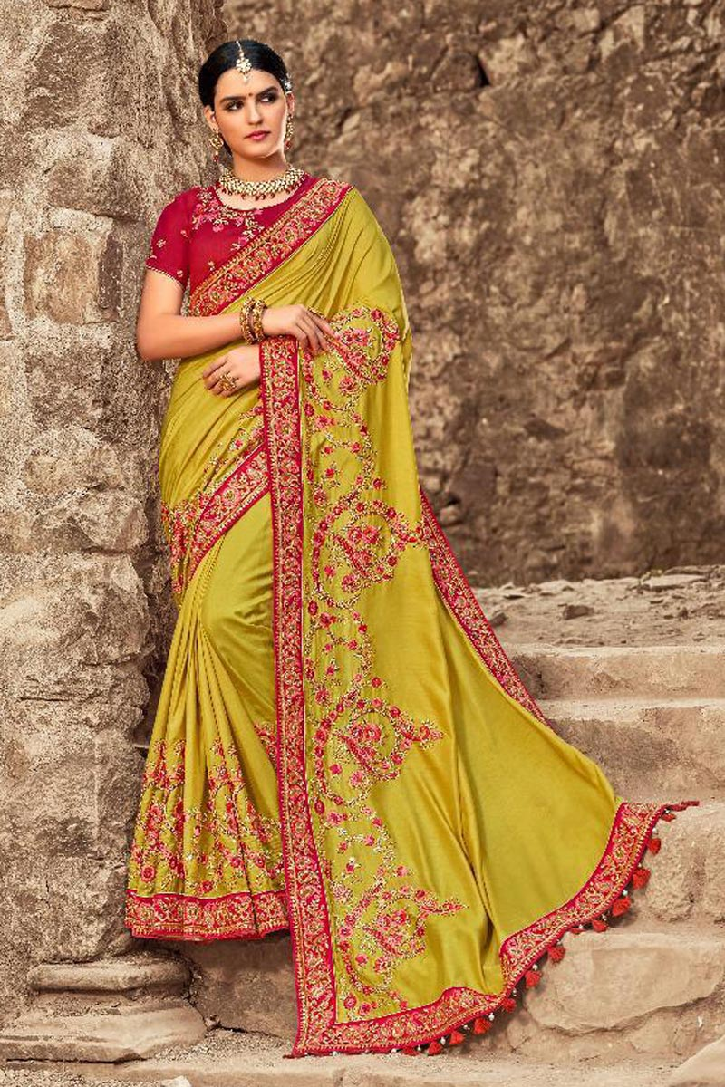 Art Silk Wedding Wear Green Designer Saree With Embroidered Blouse
