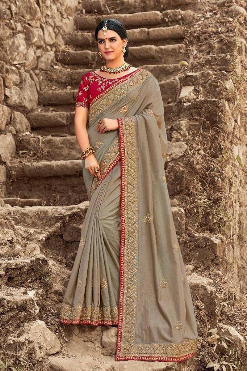 Wedding Wear Grey Art Silk Designer Saree With Heavy Blouse