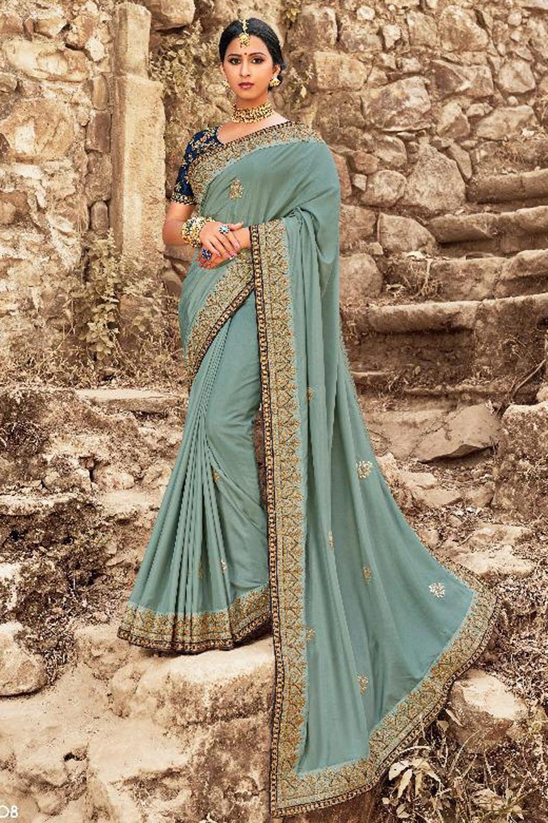 Blue Sangeet Wear Art Silk Embroidered Saree With Fancy Blouse