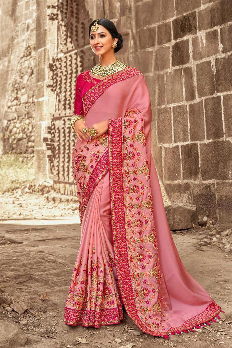 Reception Wear Designer Art Silk Pink Saree With Embroidered Blouse