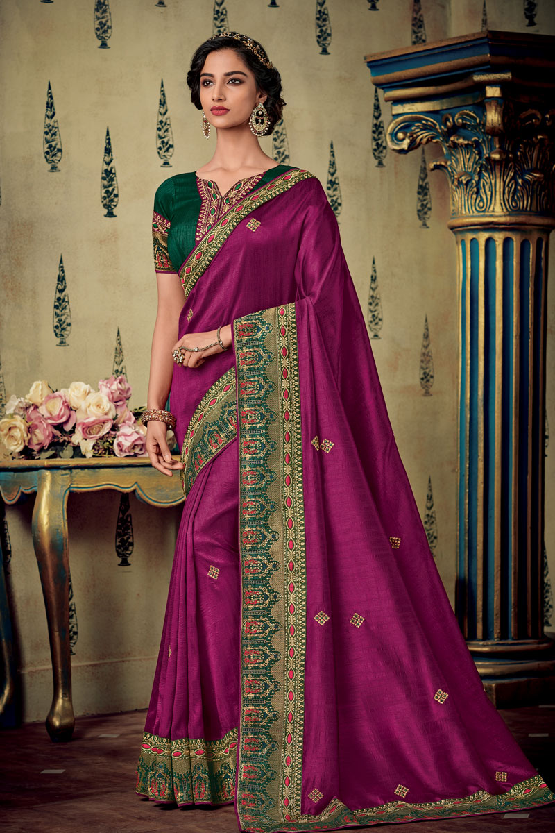 Eid Special Embroidered Fancy Fabric Wedding Wear Magenta Color Saree With Designer Blouse