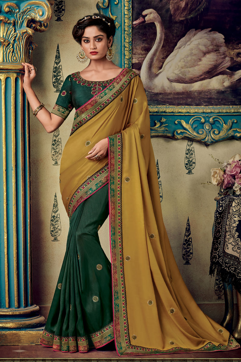 Eid Special Brown Color Fancy Fabric Designer Embroidered Saree With Party Wear Blouse