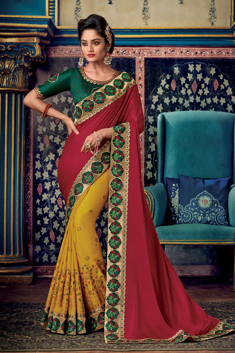 Eid Special Red Color Party Wear Saree In Fancy Fabric With Embroidery Work And Blouse