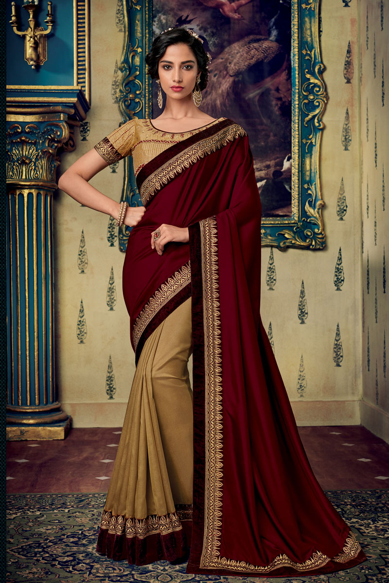 Fancy Fabric Maroon Color Festive Wear Saree With Embroidery Work