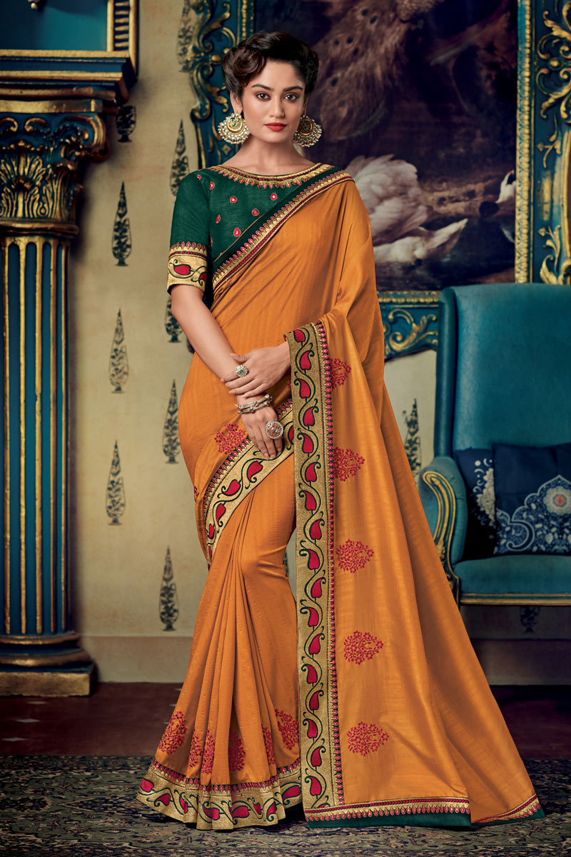 Designer Saree In Fancy Fabric Orange Color With Embroidery Work