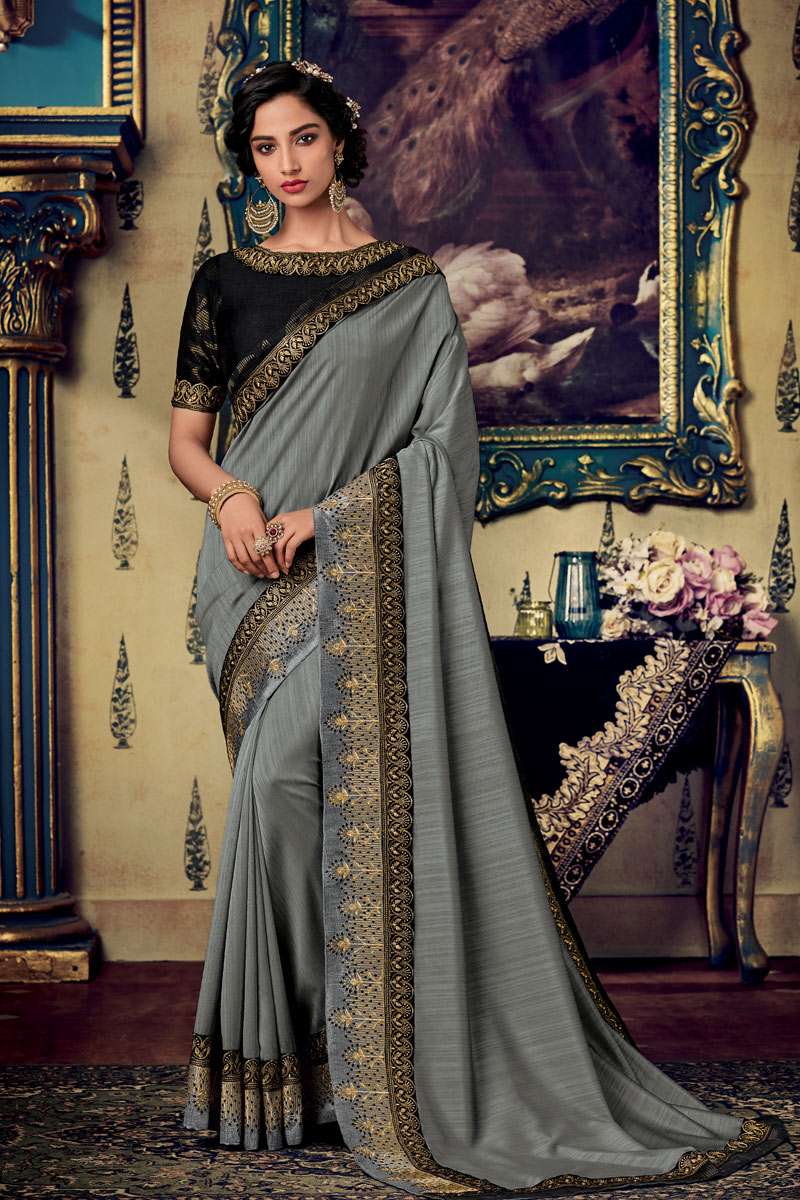 Reception Wear Saree With Embroidery Work In Fancy Fabric Grey Color