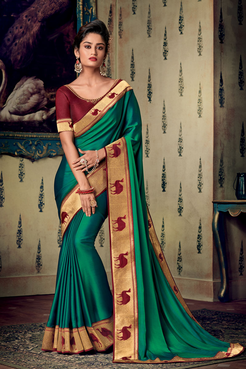 Eid Special Fancy Fabric Designer Saree With Embroidery Work On Dark Cyan Color