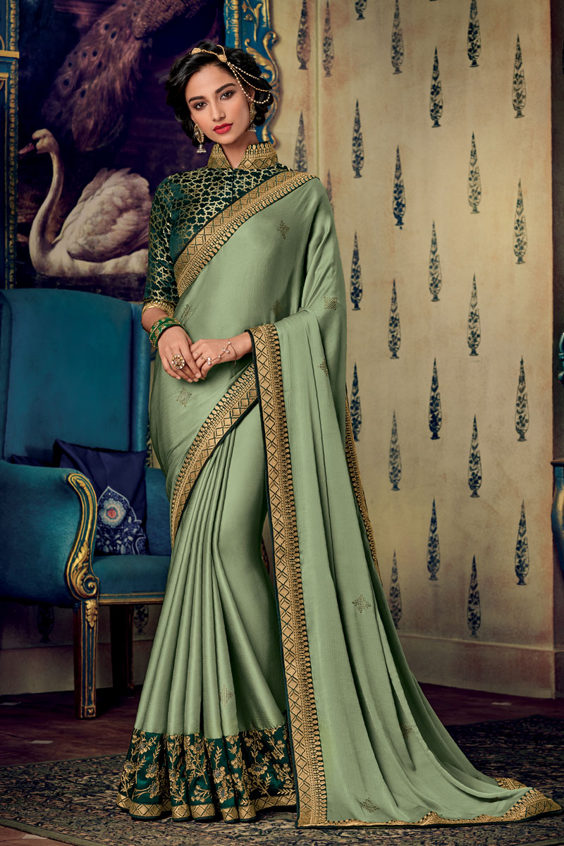 Eid Special Embroidered Dark Cyan Color Fancy Fabric Function Wear Saree With Designer Blouse