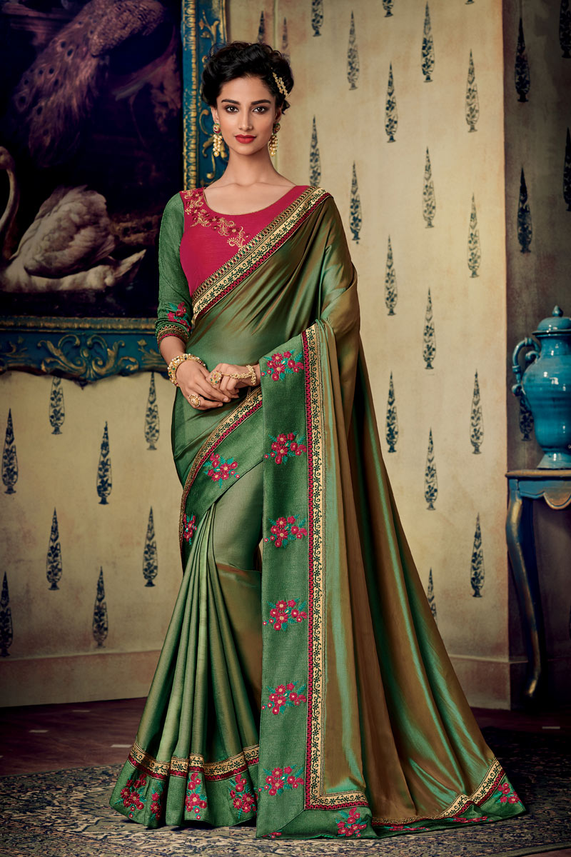 Eid Special Fancy Fabric Designer Saree With Embroidery Work On Navy Blue Color