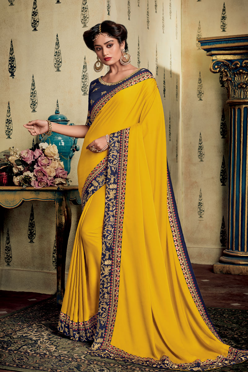 Eid Special Yellow Color Party Wear Saree In Fancy Fabric With Embroidery Work And Designer Blouse