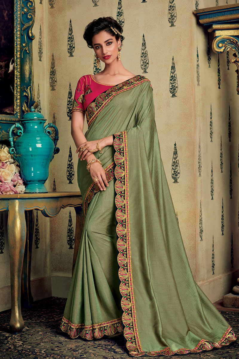 Embroidered Fancy Fabric Saree In Khaki Color With Party Wear Blouse