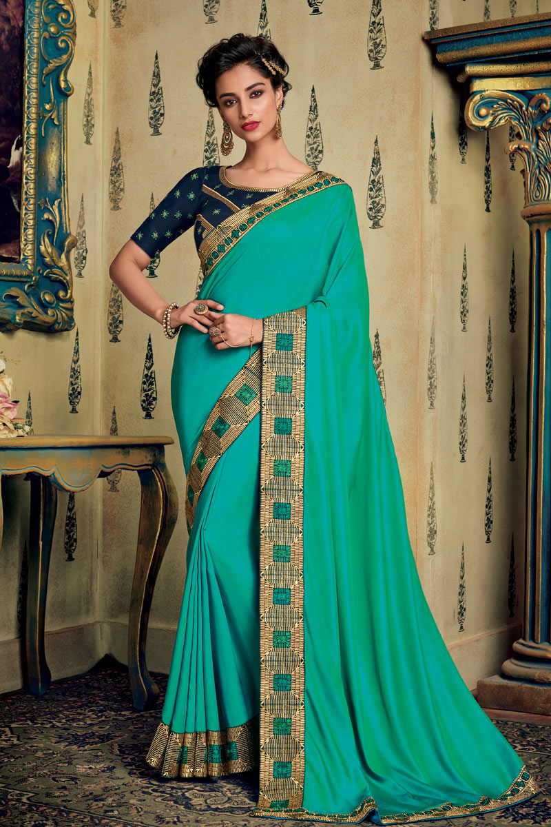 Turquoise Color Party Wear Saree In Fancy Fabric With Embroidery Work And Designer Blouse