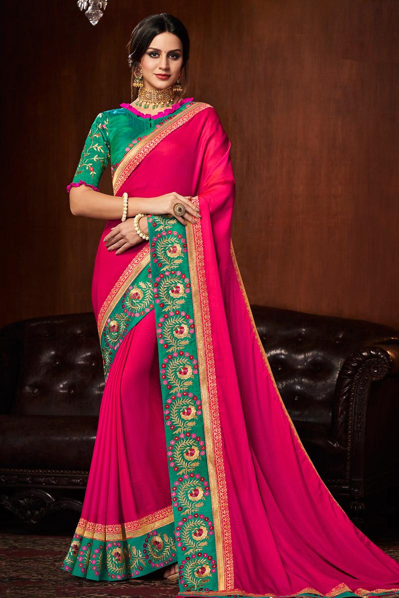 Art Silk Fabric Rani Designer Border Work Saree With Blouse