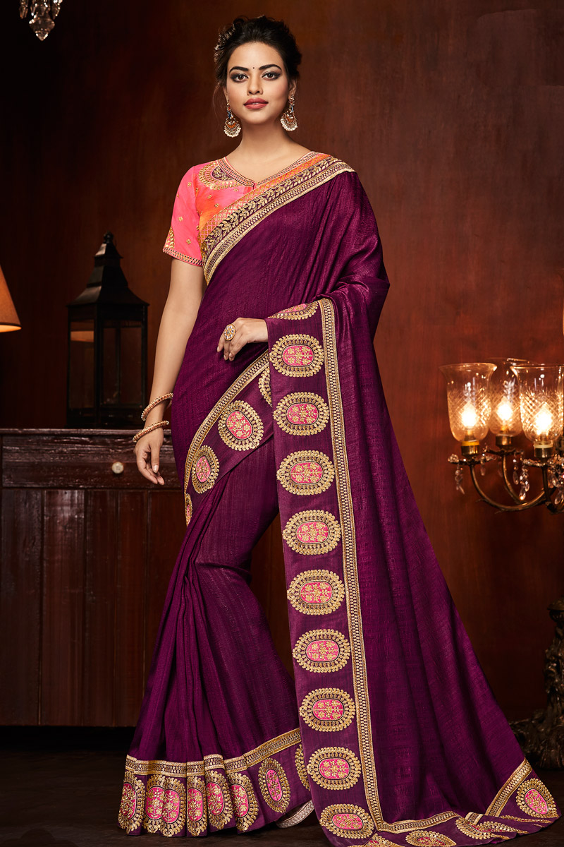 Purple Border Work Sangeet Wear Art Silk Fabric Saree With Blouse