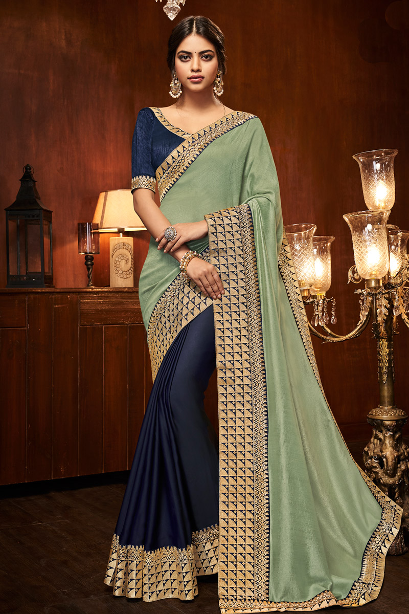 Reception Wear Saree With Border Work In Sea Green Art Silk Fabric