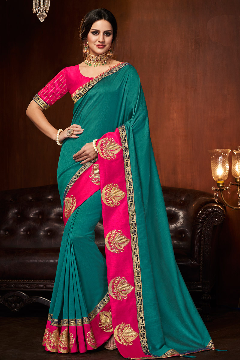 Border Work Art Silk Fabric Teal Party Wear Saree With Blouse