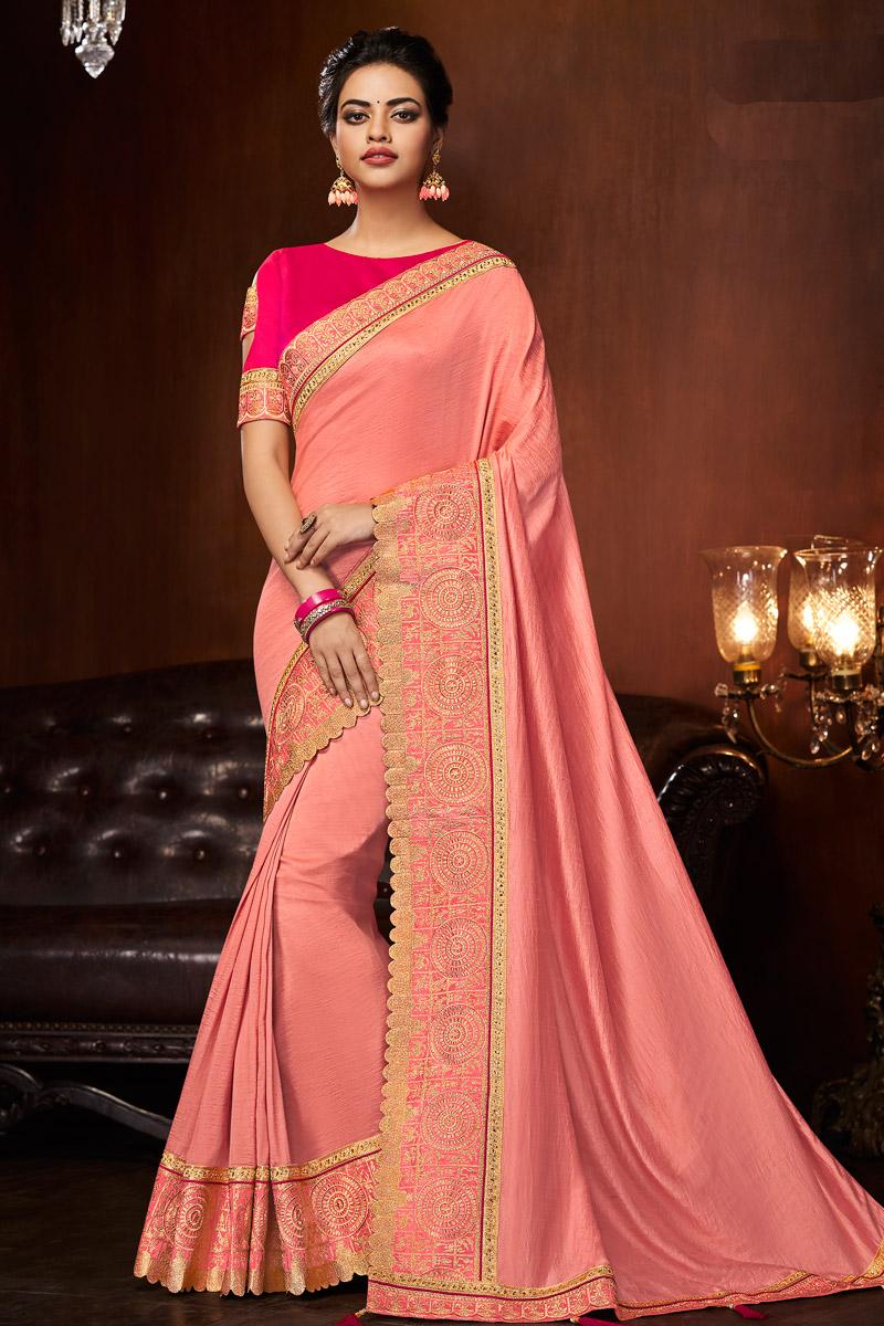 Art Silk Fabric Peach Festive Wear Saree With Border Work