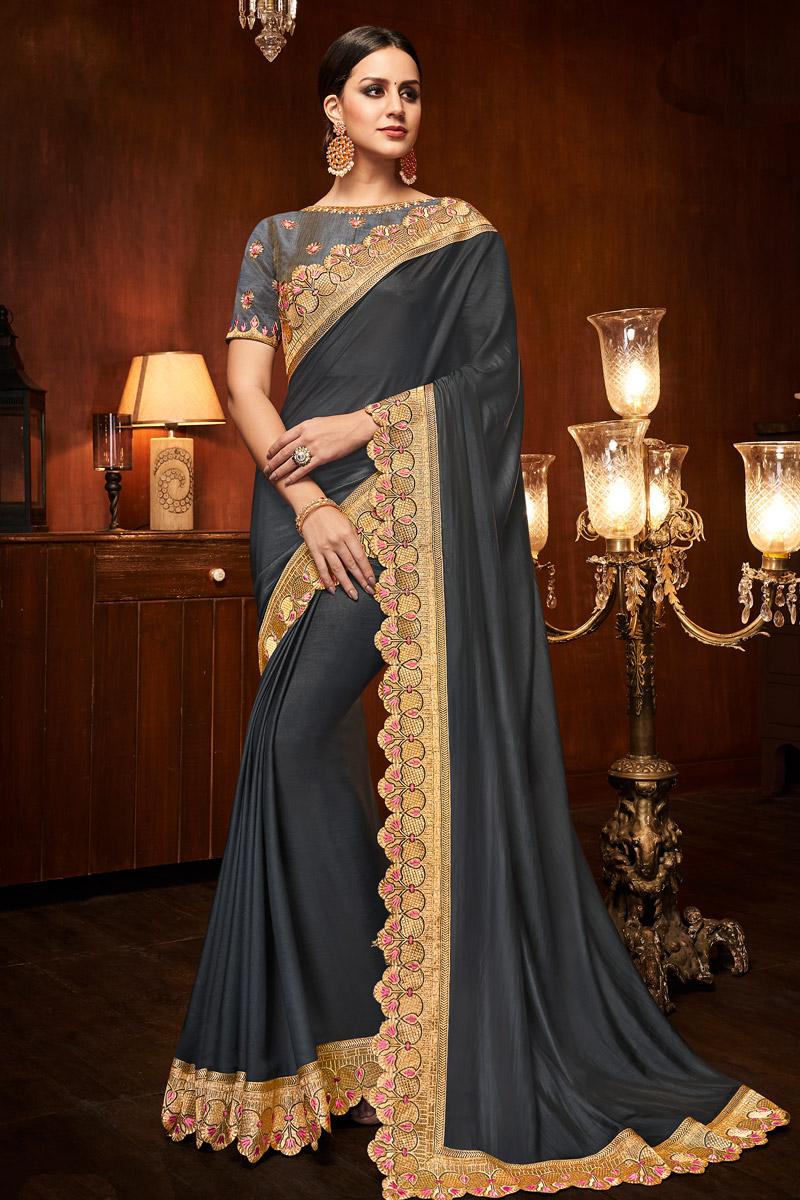 Black Designer Saree With Border Work On Art Silk Fabric