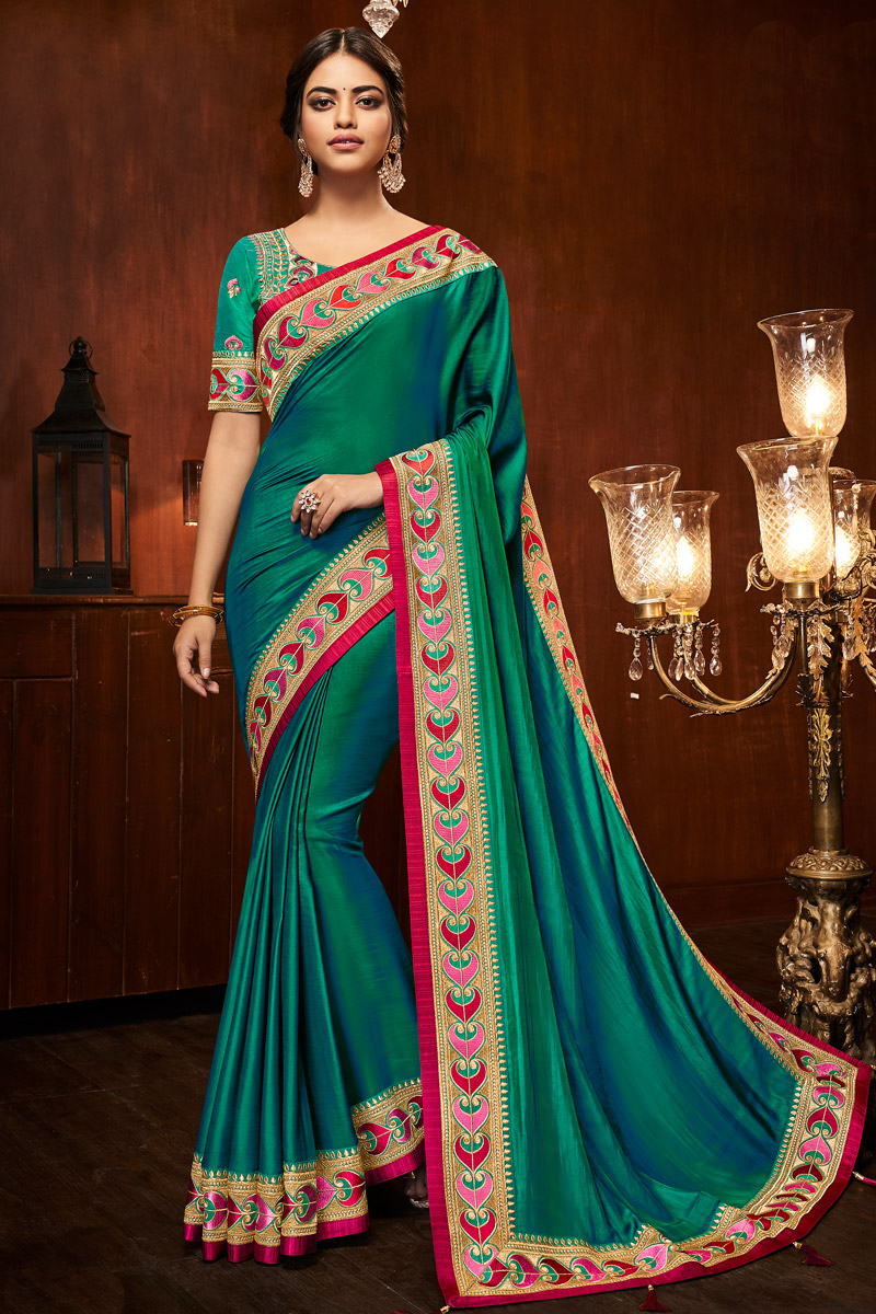 Occasion Wear Green Saree In Art Silk Fabric With Embroidered Border And Blouse
