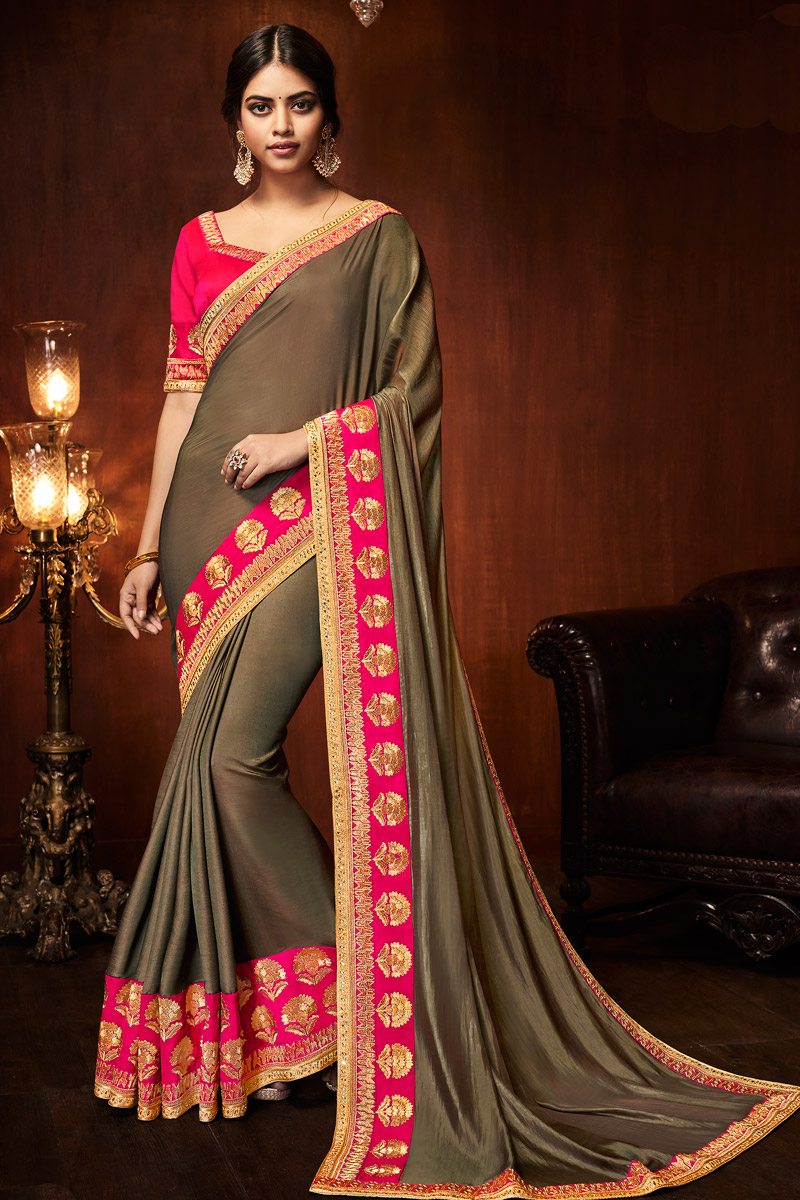 Dark Beige Art Silk Fabric Designer Saree With Embroidered Border And Blouse