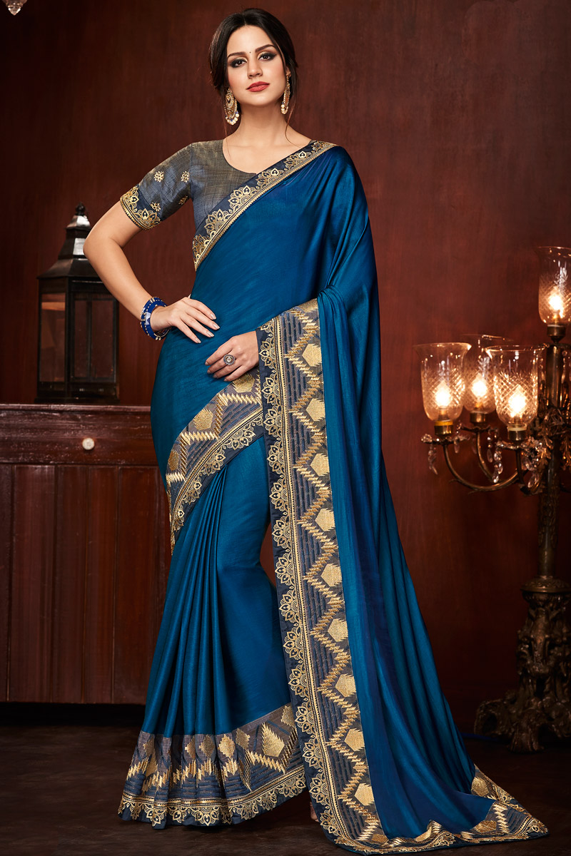 Art Silk Fabric Blue Party Wear Saree With Embroidered Border And Blouse