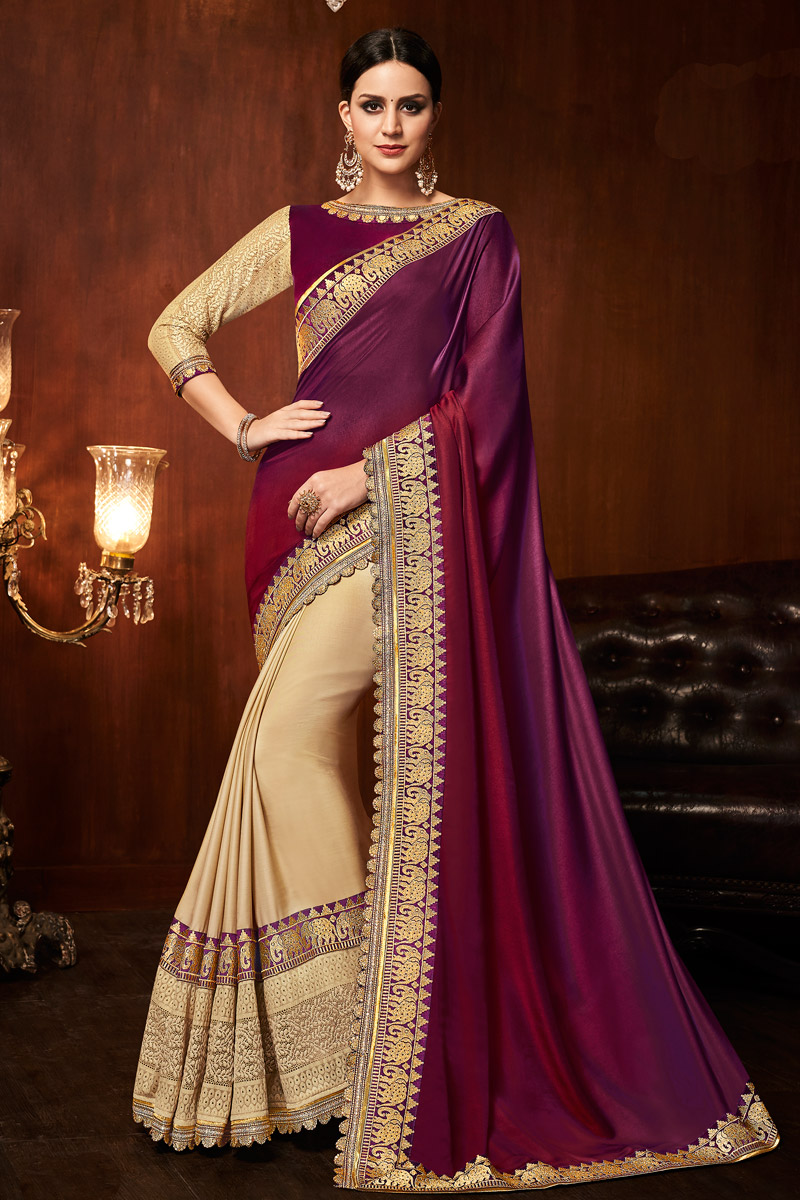 Embroidered Border And Blouse With Burgundy Art Silk Fabric Function Wear Saree