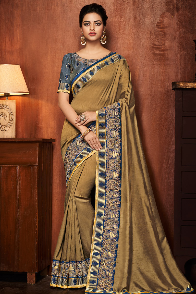Dark Beige Art Silk Fabric Occasion Wear Saree With Embroidered Border And Blouse