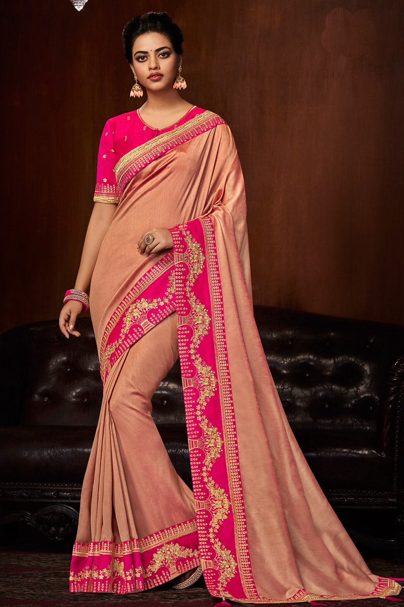 Art Silk Fabric Salmon Designer Saree With Embroidered Border And Blouse