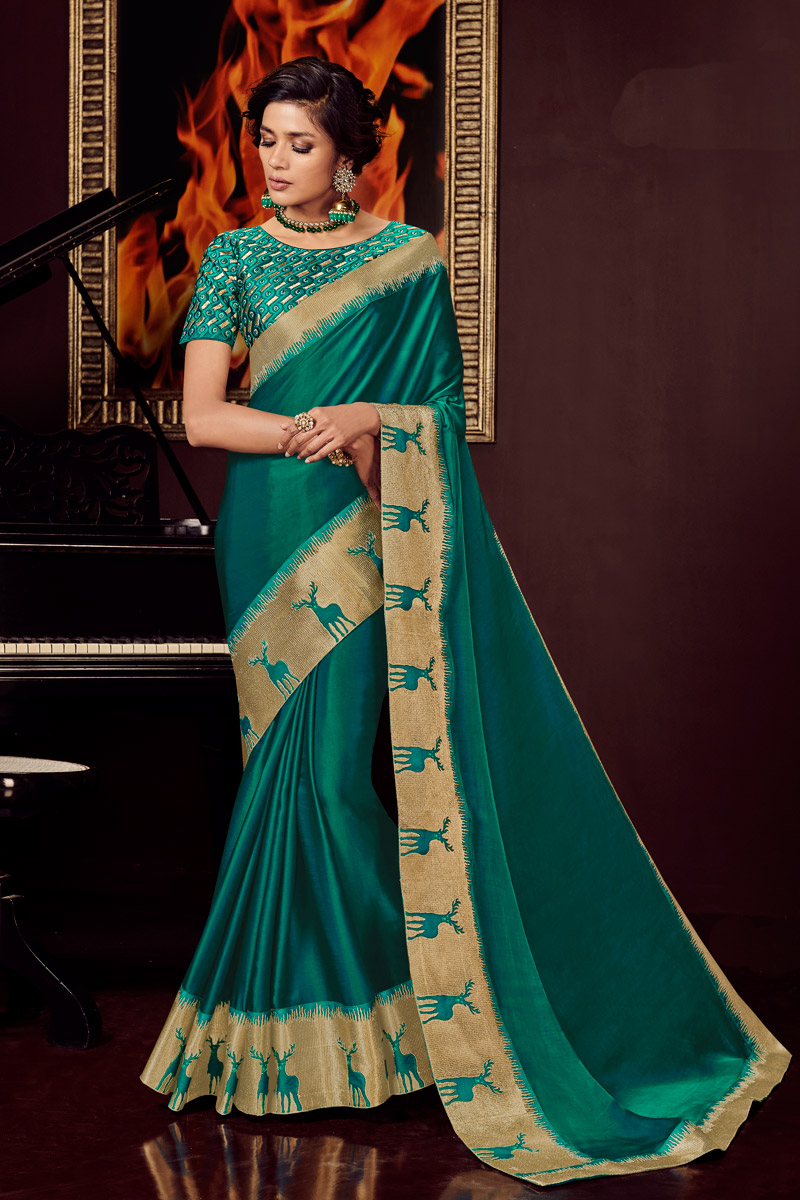 Teal Color Designer Saree With Embroidery Work On Fancy Fabric