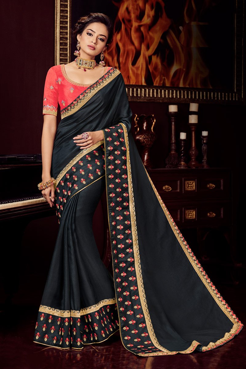 Embroidered Wedding Wear Saree In Black Color Fancy Fabric