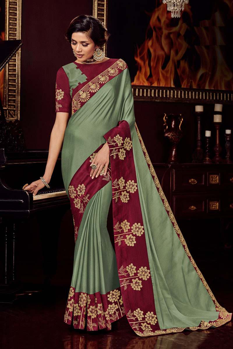 Fancy Fabric Sangeet Wear Saree With Embroidery Work In Green Color