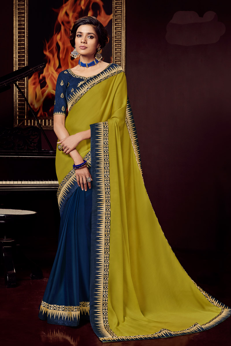 Fancy Fabric Party Wear Saree In Navy Blue Color With Embroidery Work And Designer Blouse