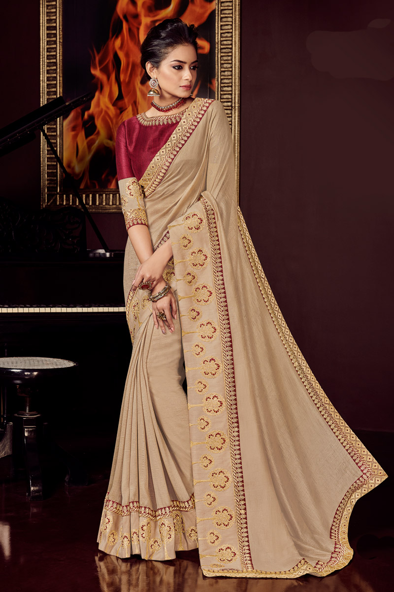Embroidered Cream Color Wedding Wear Saree In Fancy Fabric With Designer Blouse