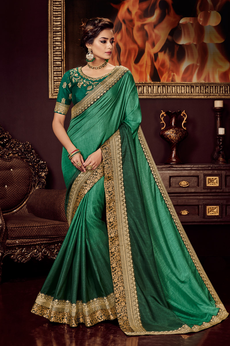 Fancy Fabric Green Color Embroidered Party Wear Saree With Designer Blouse