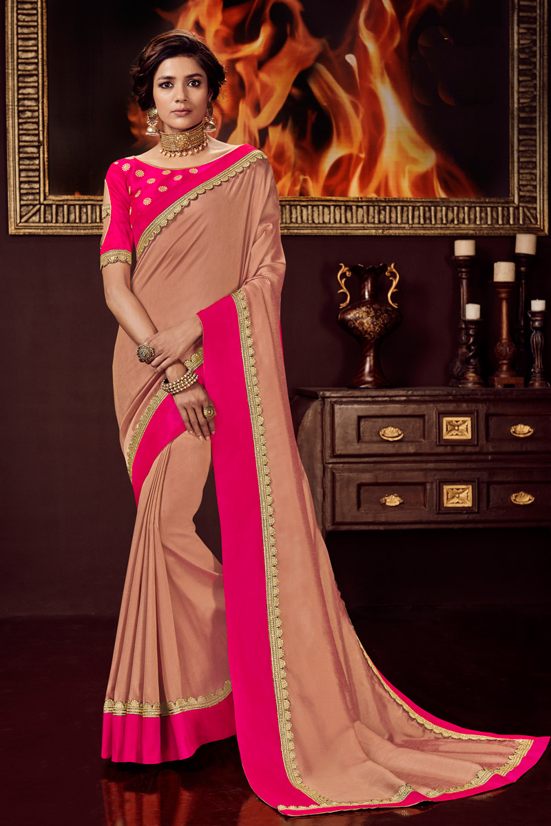 Peach Color Embroidered Sangeet Wear Fancy Fabric Saree With Designer Blouse