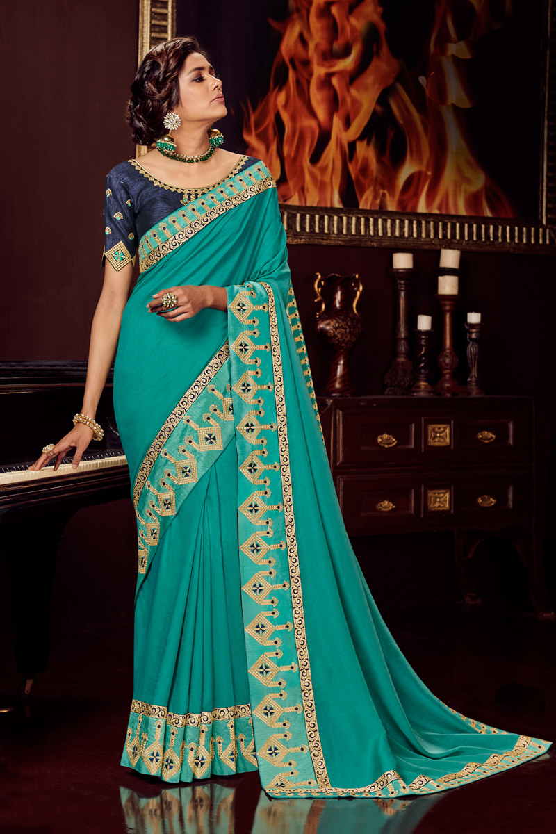 Embroidered Fancy Fabric Cyan Color Function Wear Saree With Designer Blouse