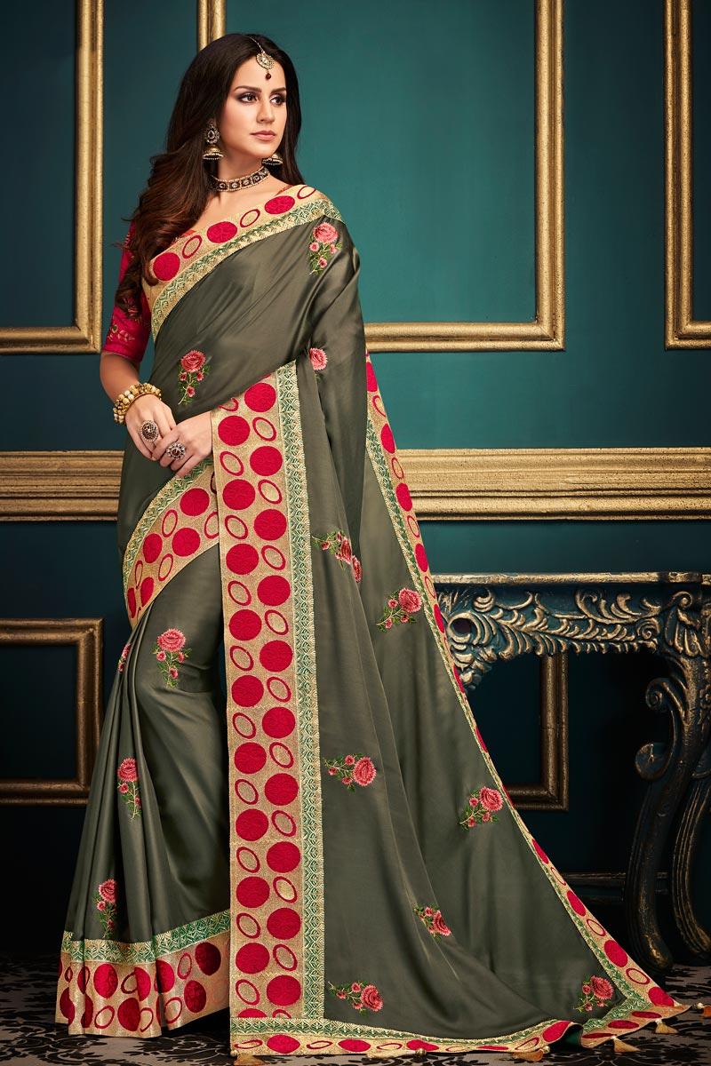 Party Wear Dark Beige Designer Fancy Fabric Saree With Lace Boder
