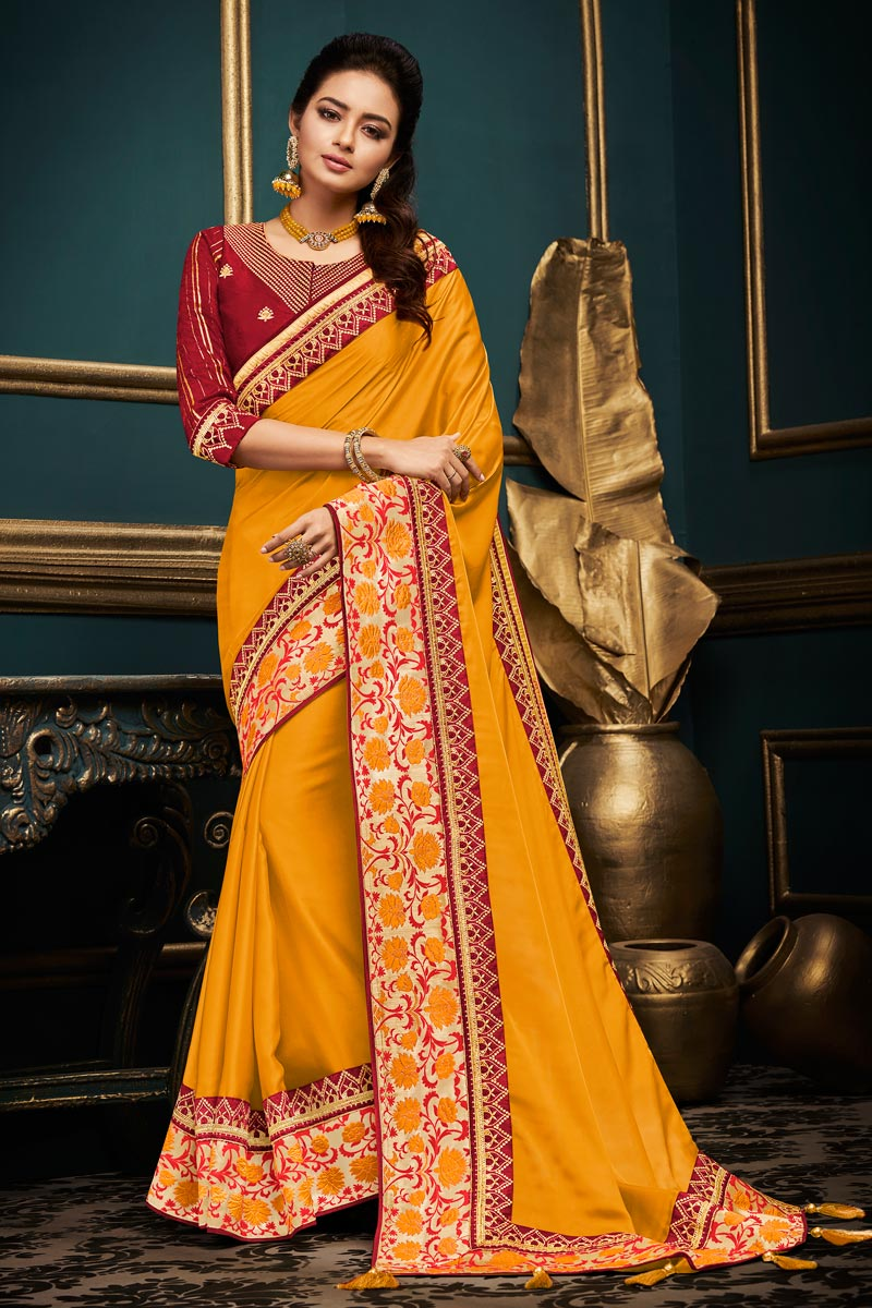 Designer Party Style Mustard Saree In Fancy Fabric With Boder Work