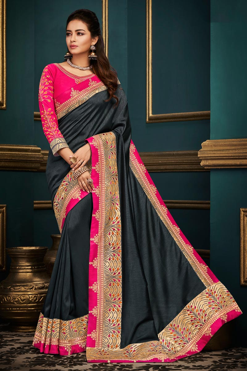 Fancy Fabric Designer Party Style Grey Saree With Boder Work