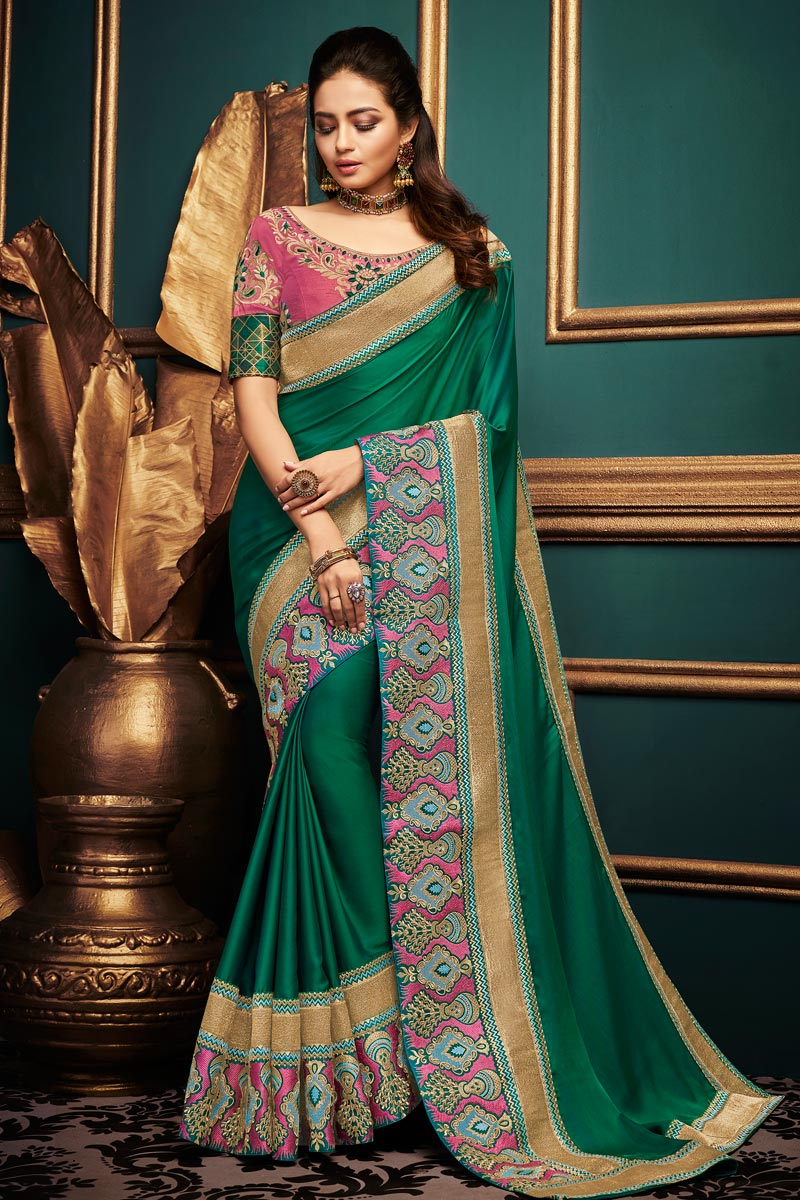 Party Wear Fancy Fabric Designer Green Saree With Lace Boder